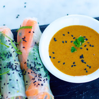Vegetable Spring Rolls With Almond Sauce