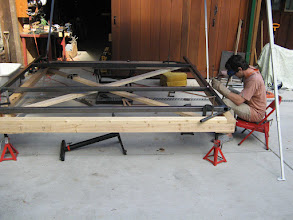 Photo: This is the new roof for the pizza oven. Neil is catching on with the gas welding.....is nice to have an assistant!