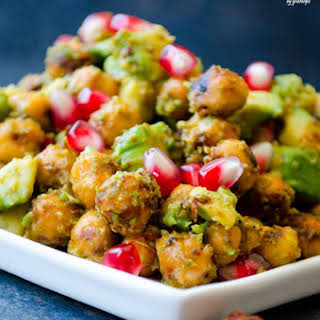 Avocado and Chickpea Salad with Pomegranates.