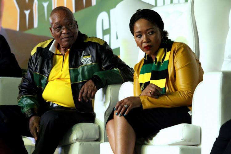 President Jacob Zuma and his wife Thobeka Madiba-Zuma during his 75th birthday celebrations at Kliptown on April 12, 2017 in Soweto.