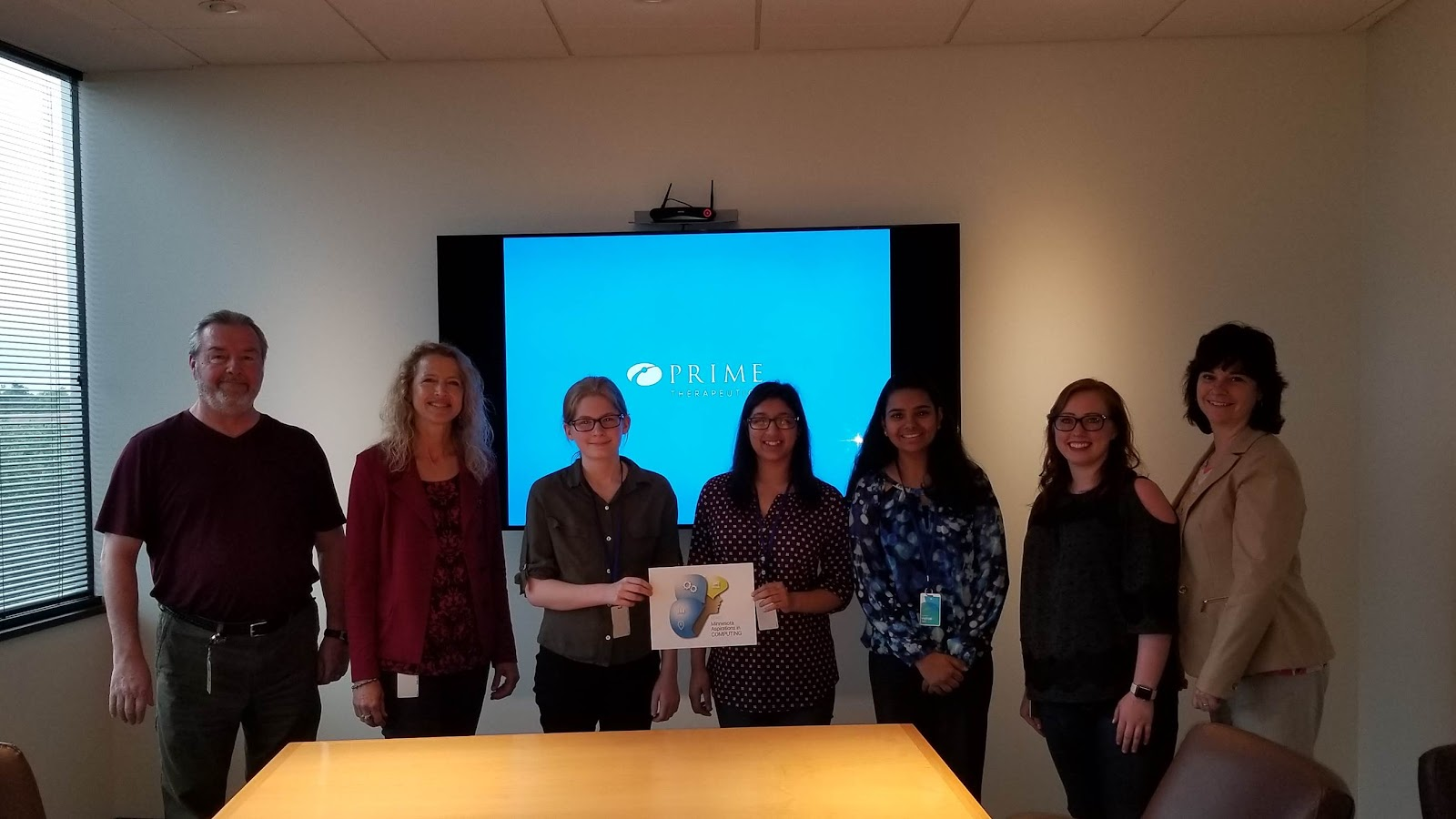 L to R: David Sagisser and Kristi Portugue (Prime Therapeutics) Kajsa Arnold, Mayo High School in Rochester, Petra Asani, Eastview High School in Apple Valley, Anusha Sharma, Eagan High School, Brittany Paulson and Sue Stewart (Prime Therapeutics)