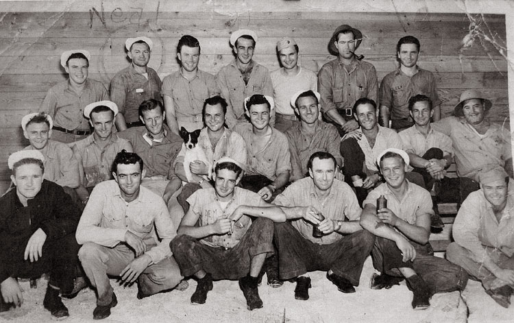 Neal on Midway in 1944 (back row, second from left)