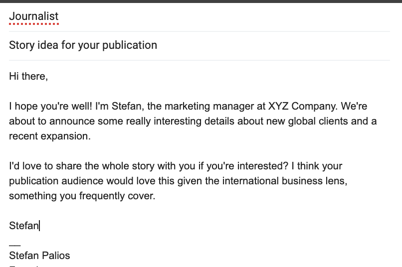 example earned media pitch email