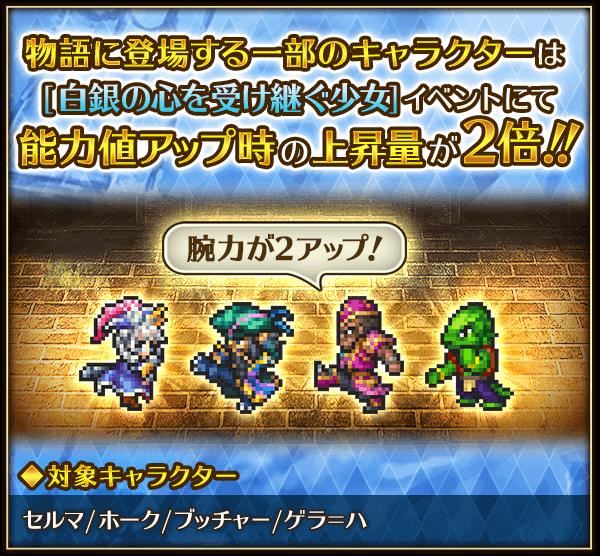 対象キャラクターを連れて本イベントに出撃することで、バトル後の能力値アップ時の上昇量が2倍