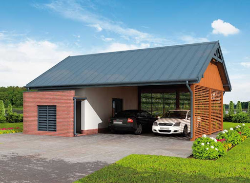 projekt G275 szkielet drewniany wiata garażowa z pomieszczeniem gospodarczym