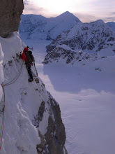 Photo: Exposed traverse on Mount Hunter