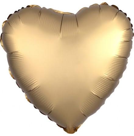 Folieballong Satinhjärta guld, 43 cm
