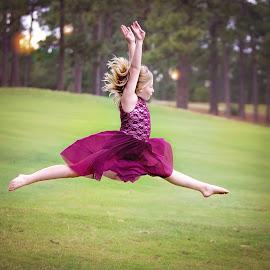 Dance by Jeannie Meyer - Babies & Children Child Portraits ( maroon, air, airborn, dance, dancer,  )