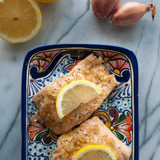 Baked Salmon With Lemon Shallot Butter Sauce.