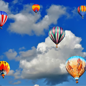 up, up, & away by John Broughton - Transportation Other ( clouds, sky, hot air balloons, summer days, air photos )