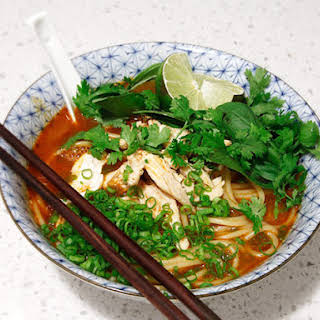 20-Minute Thai Red Curry Noodle Soup With Chicken.