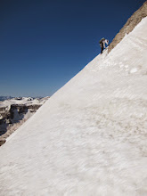 Photo: Out of the couloir and close to the summit.