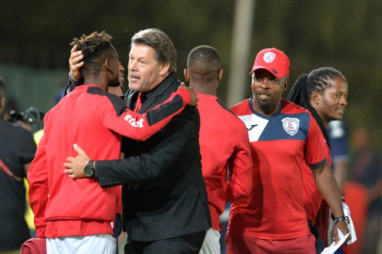 Free State Stars head coach Luc Eymael celebrates with players during the Absa Premiership match against Bidvest Wits at Bidvest Stadium on January 05, 2018 in Johannesburg, South Africa.