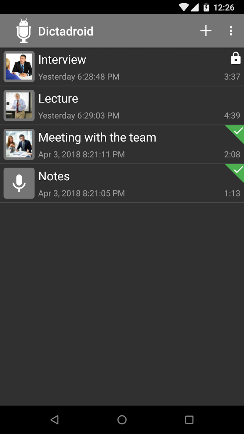 Dictadroid Voice Recorder Screenshot