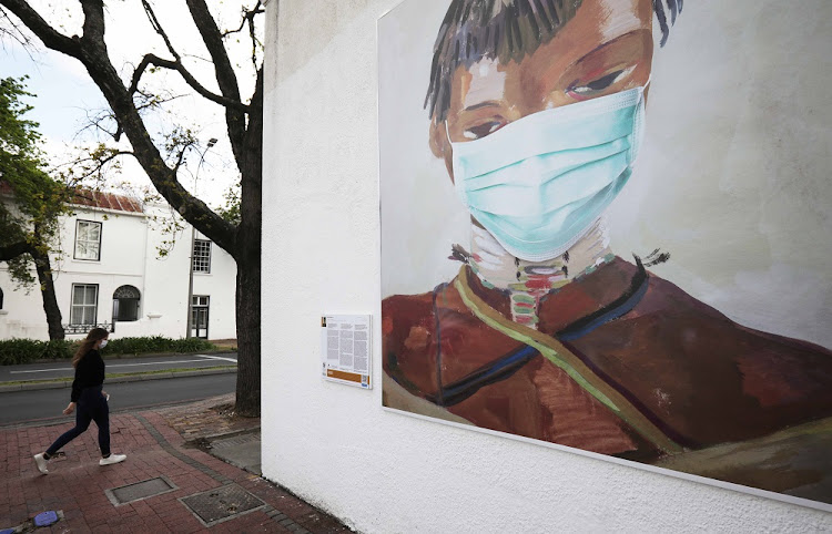 Stellenbosch University displays 'Masked Masterpieces', a series of five artworks encouraging the wearing of masks​ in and around the town.