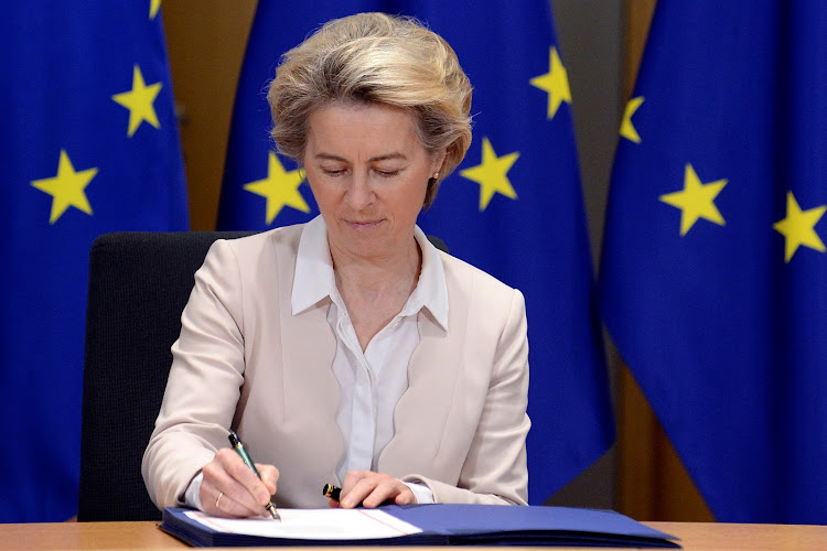 European Commission President Ursula von der Leyen signs Brexit trade agreement due to come into force on January 1, 2021, in Brussels, Belgium December 30, 2020.