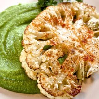 Cauliflower Steaks With Sweet Pea Purée [Vegan].