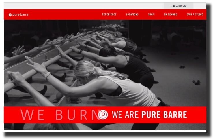 PureBarre website screenshot