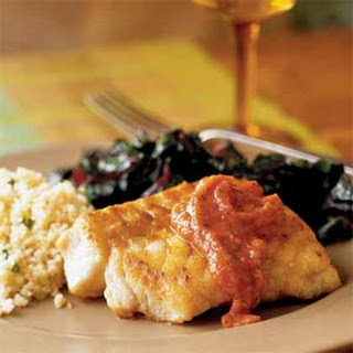 Pan-Seared Grouper with Roasted Tomato Sauce.