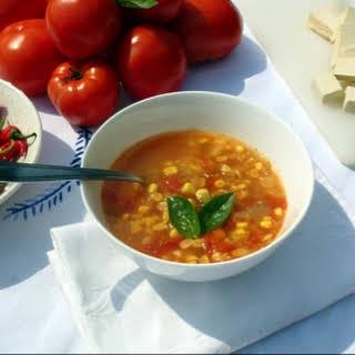 Rustic Garden tomato Soup with Tofu & Sweet Corn.