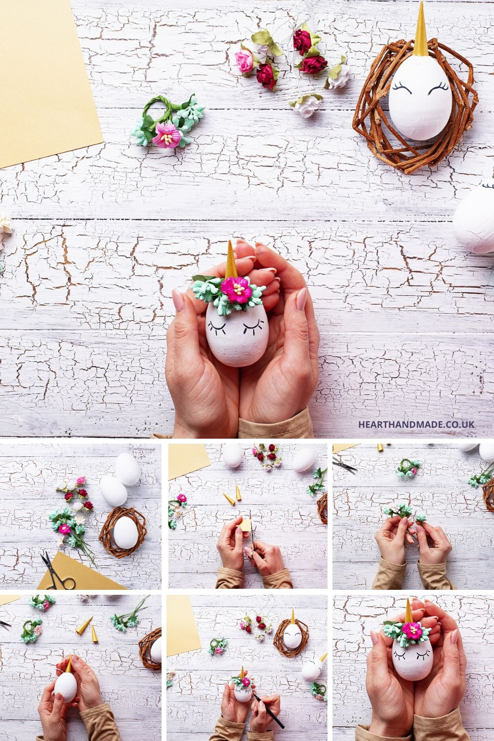 How To Make A Unicorn Egg - step by step collage