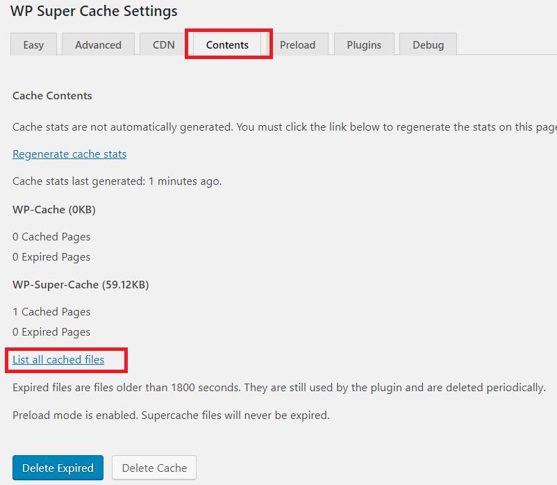 Các lưu trữ cache của wp super cache.