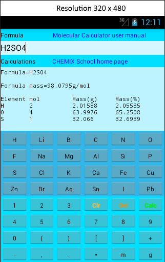 Molecular Calculator Lite-skjermdump