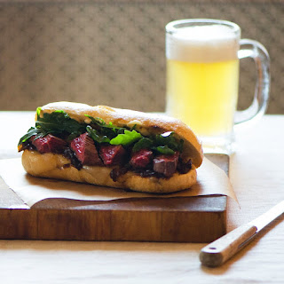 Skirt Steak Sandwich with Caramelized Onions and  Aioli