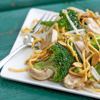 Broccoli Bean Sprout Salad with Chow Mein Noodles.
