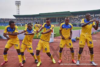 Photo: The Amavubi celebrate Ernest Sugira's second goal [Rwanda vs Gabon, CHAN - Group A, 20 Jan 2016 in Kigali, Rwanda.  Photo © Darren McKinstry 2016, www.XtraTimeSports.net]