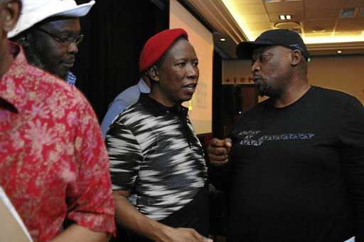 EFF leader Julius Malema flanked by Bongani Gumede and Mpho Molepo at a public manifesto consultation with the creative industry.