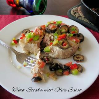Tuna Steaks with Olive Salsa