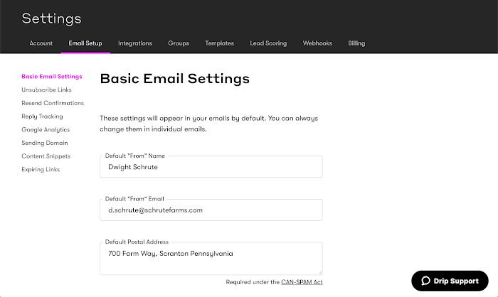 Email Setup - Drip User Manual