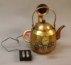 Photo: steampunk teapot with battery pack