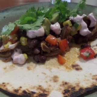 Pulled Pork Tacos with Corn & Black Bean Salad and Lime Mayo.