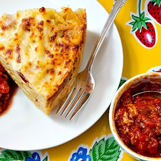 Bucatini Pie with Marinara Sauce