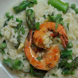 Preserved Lemon and Spring Vegetable Risotto with Grilled Pernod Shrimp