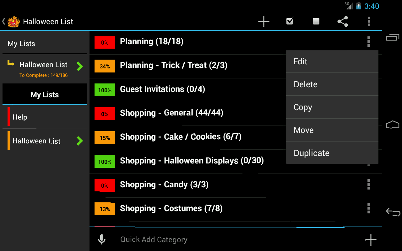 Halloween Planner- screenshot
