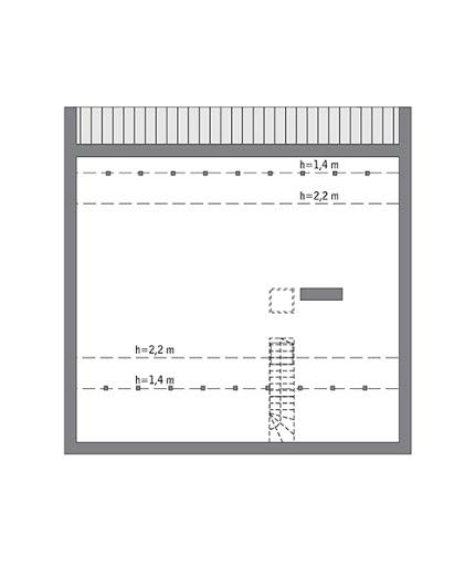 Przejrzysty - wariant V - C365e - Rzut poddasza do indywidualnej adaptacji (80,0 m2 powierzchni użytkowej)