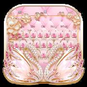 Pink Gold Shine Diamond Swan Keyboard