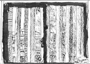 Photo: 窗外2011.01.01鋼筆 2011年的首日,緊閉的窗外仍是一片蕭瑟,寒冬無情地在監內恣意妄為…