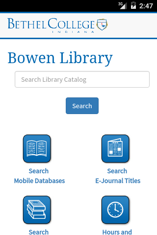 Bethel College Library- screenshot