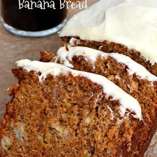 Gingerbread Banana Bread with Cream Cheese Icing.