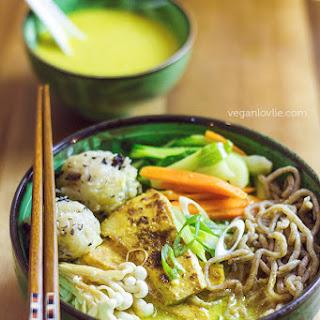 Coconut Curry Ramen Noodle Soup with Crispy Tofu - Vegan.