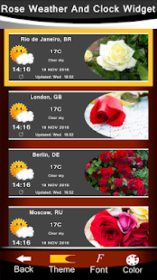 Rose Weather And Clock Widget - náhled