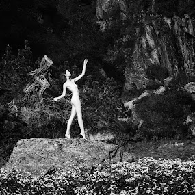 stone stage by Carl0s Dennis - Nudes & Boudoir Artistic Nude ( nude, nature, female, outdoor, balck and white, switzerland, stone, stage,  )