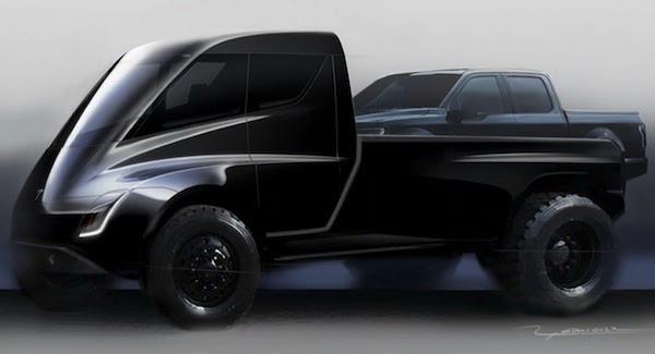 รถปิคอัพที่อยู่หลังรถ Tesla Semi ไม่น่าจะใช่รถปิคอัพของ Tesla แต่เป็นรถ Ford F-150