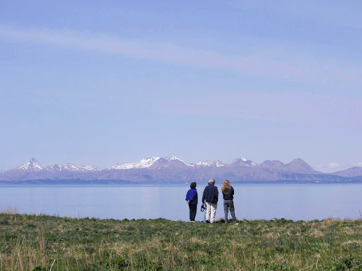 Kodiak-landscape - Travelers take in the expansive landscape on Kodiak Island off the southern coast of Alaska.