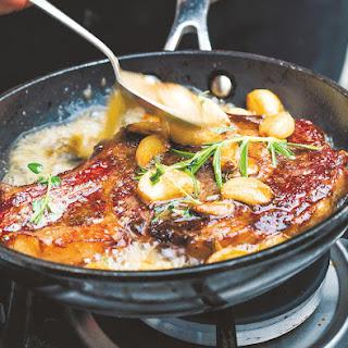 Crisp, Butter-Fried Steak With Golden Garlic.
