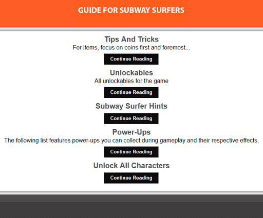 Unofficial Subway Surfer Guide